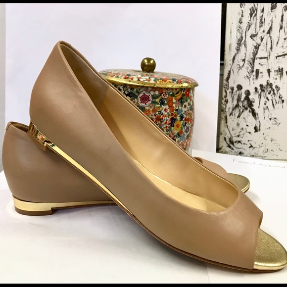 Cole Haan Nude Peep Toe Flats With Gold